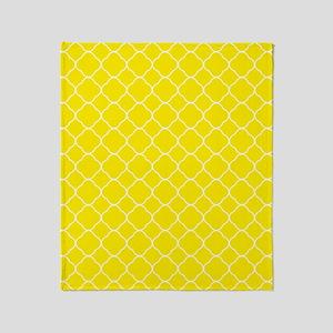 Yellow Quatrefoil Pattern Throw Blanket