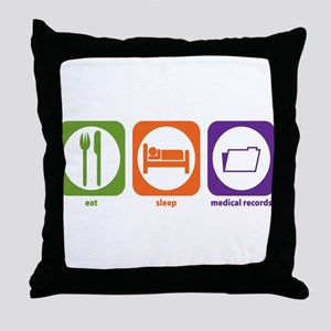 Eat Sleep Medical Records Throw Pillow