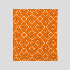 Orange Quatrefoil Pattern Throw Blanket