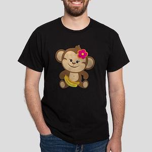 Girl Monkey With Bananas Dark T-Shirt
