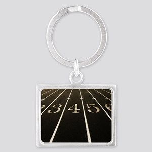 Race Track Numbers In Sepia Ton Landscape Keychain