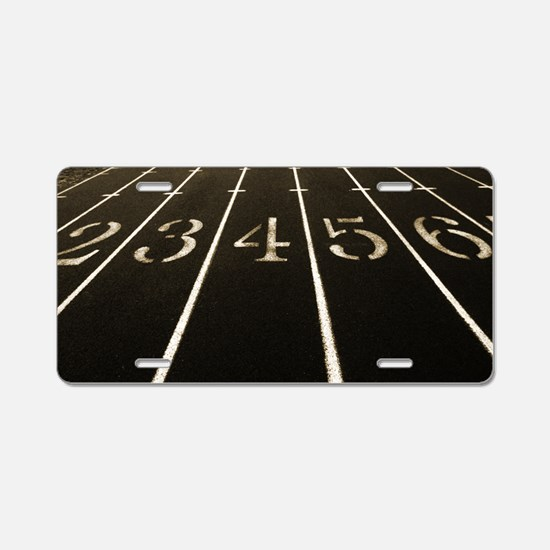 Race Track Numbers In Sepia Aluminum License Plate