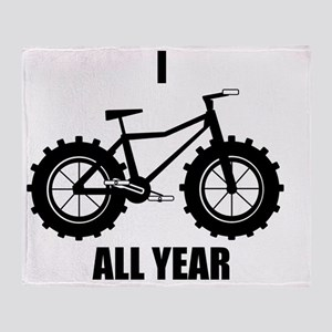 I Fatbike All year Throw Blanket