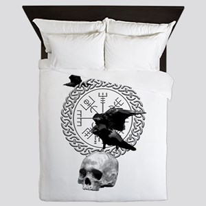 Vegvisir with Huginn and Muninn Queen Duvet