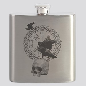 Vegvisir with Huginn and Muninn Flask