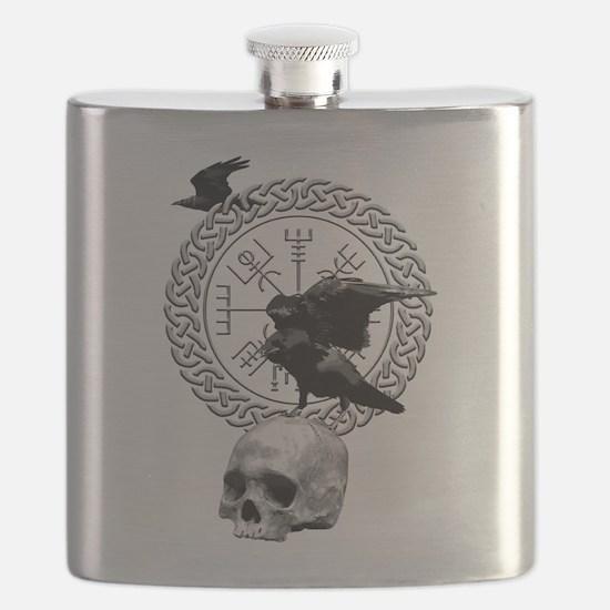 Vegvisir with Huginn and Muninn Flask