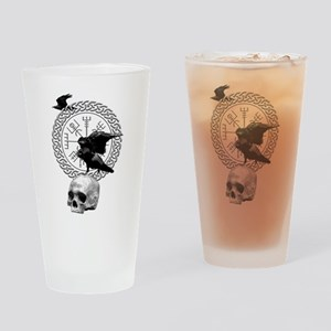 Vegvisir with Huginn and Muninn Drinking Glass