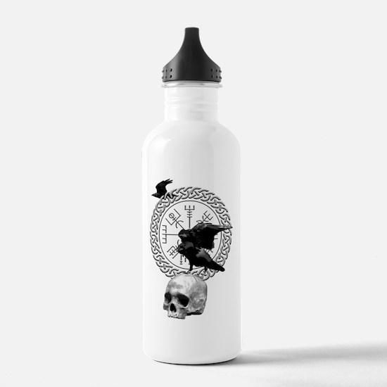 Vegvisir with Huginn and Muninn Sports Water Bottl
