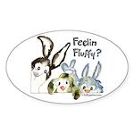 Funny Rabbits Oval Sticker