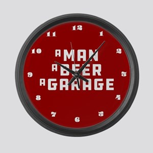 A Man A Beer A Garage Large Wall Clock