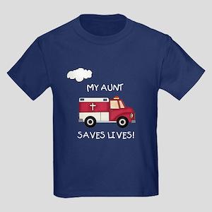 EMT Aunt Saves Lives Kids Dark T-Shirt