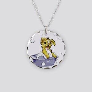 Doggie Dog Wash Necklace Circle Charm