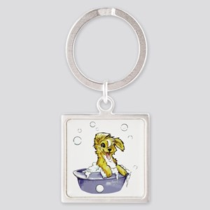 Doggie Dog Wash Square Keychain