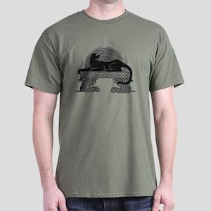 Cat on Dragon Bench Dark T-Shirt