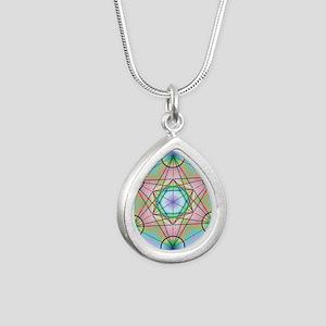 Metatron's Cube Rainbow Silver Teardrop Necklace