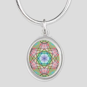 Metatron's Cube Rainbow Silver Oval Necklace