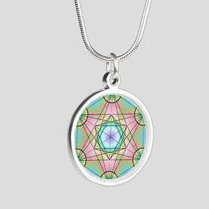 Metatron's Cube Rainbow Silver Round Necklace