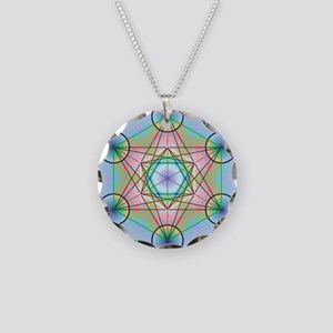 Metatron's Cube Rainbow Necklace Circle Charm