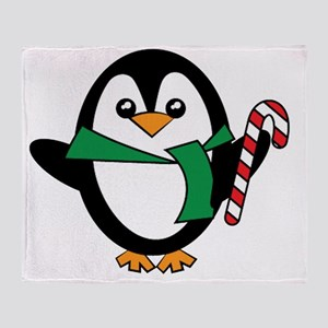 Candy Cane Penguin Throw Blanket