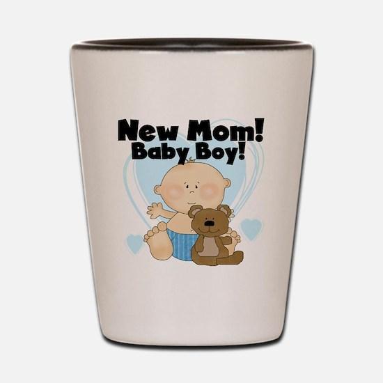 New Mom Baby Boy Shot Glass