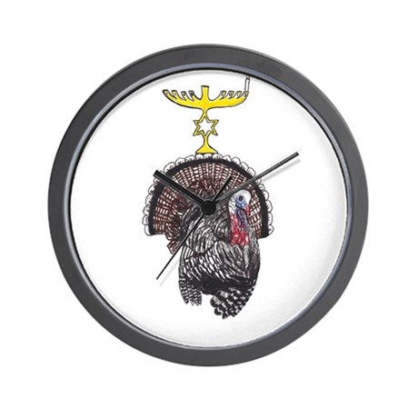 Thanksgivukkah Turkey and Menorah Wall Clock