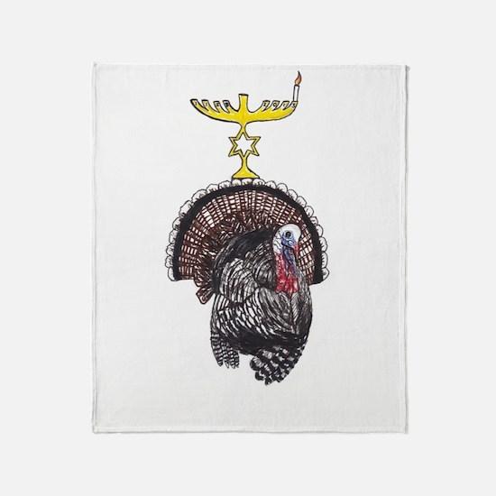 Thanksgivukkah Turkey And Menorah Throw Blanket
