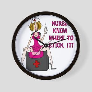 Nurses Know Where to Stick It Wall Clock