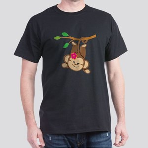 Girl Monkey Swinging From Branch Dark T-Shirt