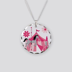 Pink Carnival Carousel Horse Necklace Circle Charm