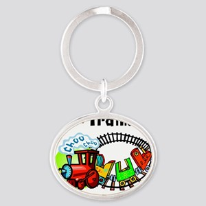 I Love Trains Oval Keychain