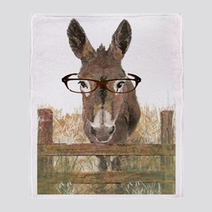 Humorous Smart Ass Donkey Painting Throw Blanket