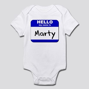 hello my name is marty  Infant Bodysuit