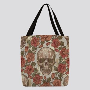 Skull and Roses Polyester Tote Bag