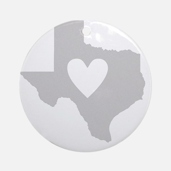 Heart Texas state silhouette Round Ornament