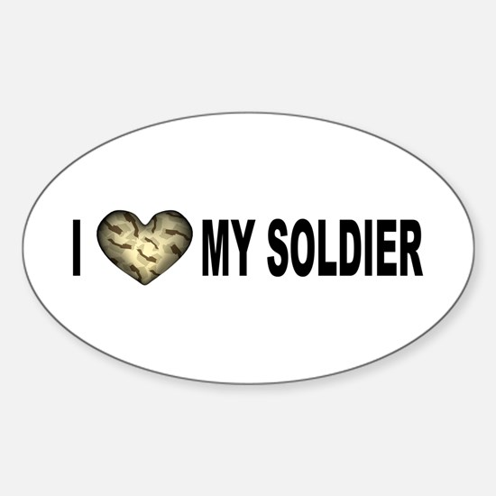 I HEART My Soldier Clear Font Oval Decal