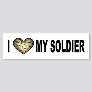 I HEART My Soldier Clear Font Bumper Sticker