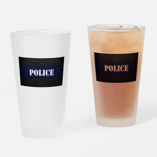 Police Diamond Plate Thin Blue Line Drinking Glass