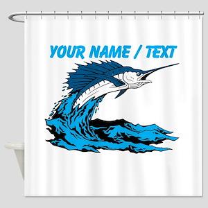 Custom Marlin Jumping Shower Curtain