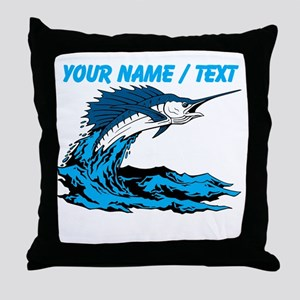 Custom Marlin Jumping Throw Pillow