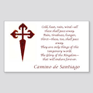 Camino Poem Red with Cross Sticker