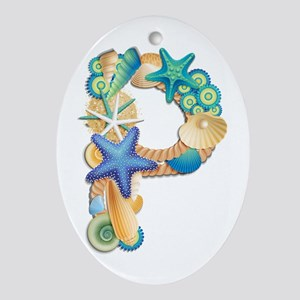 Beach Theme Initial P Oval Ornament