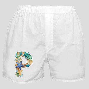 Beach Theme Initial P Boxer Shorts