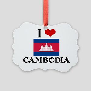 I HEART CAMBODIA FLAG Picture Ornament