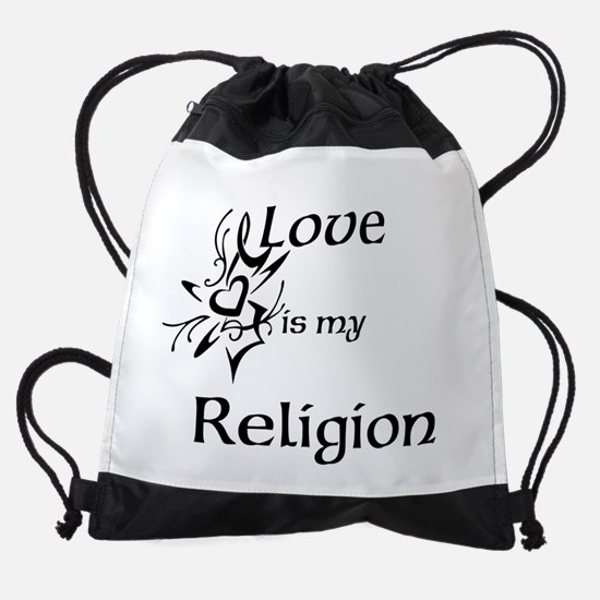 love is my religion Drawstring Bag