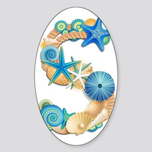 Beach Theme Initial S Sticker (Oval)