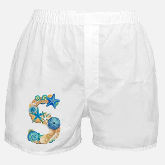 Beach Theme Initial S Boxer Shorts