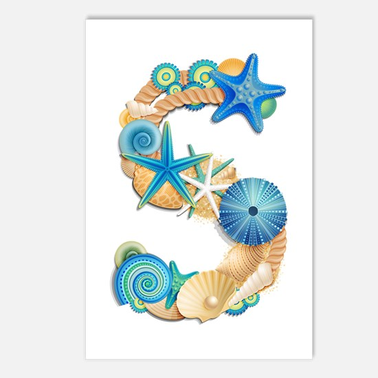 Beach Theme Initial S Postcards (Package of 8)
