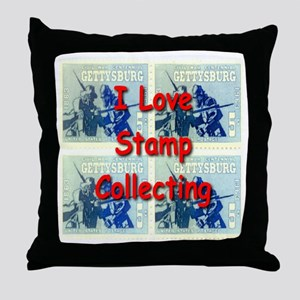 I Love Stamp Collecting Throw Pillow