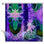 Abstract Rose Birds Shower Curtain
