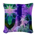 Abstract Rose Birds Woven Throw Pillow